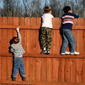 children climbing fence