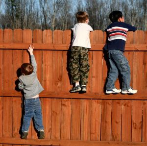 children climbing fence